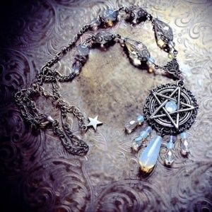 Moonlight Pentagram Beaded Wiccan Necklace